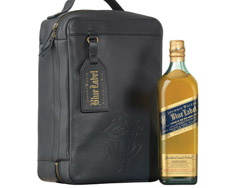 JOHNNY WALKER BLUE LABEL BLENDED SCOTCH WITH LEATHER TRAVEL CASE